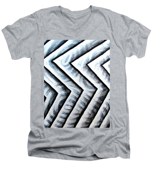 Silver Glass Waves Study 1  Men's V-Neck T-Shirt