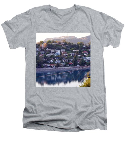 Silver Lake Reservoir With Griffith Observatory And Hollywood Sign Men's V-Neck T-Shirt