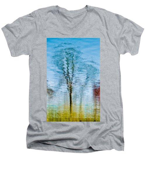 Silver Lake Tree Reflection Men's V-Neck T-Shirt by Michael Bessler