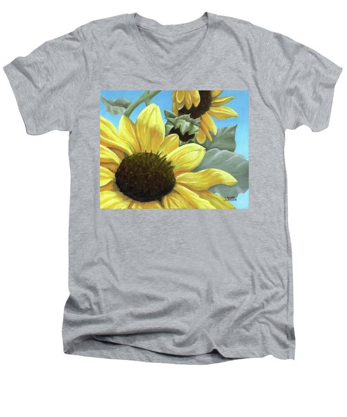 Silver Leaf Sunflower Growing To The Sun Men's V-Neck T-Shirt