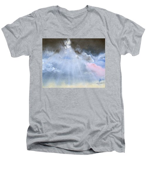 Men's V-Neck T-Shirt featuring the painting Silver Lining Behind The Dark Clouds Shining by Jane Autry