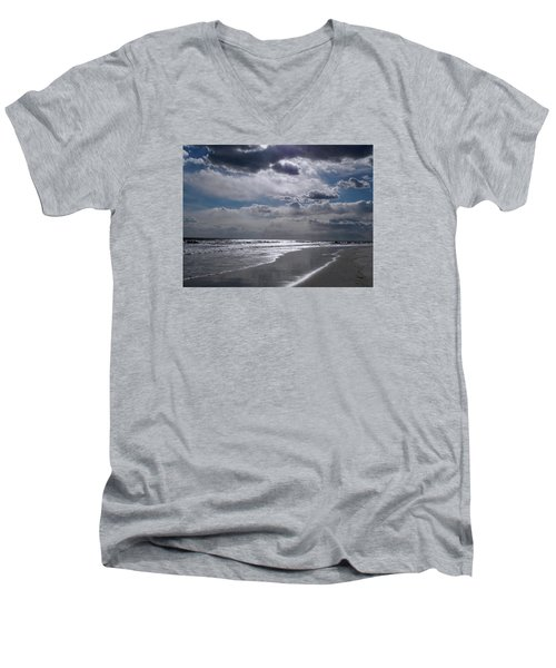 Men's V-Neck T-Shirt featuring the photograph Silver Linings Trim The Sea by Lynda Lehmann
