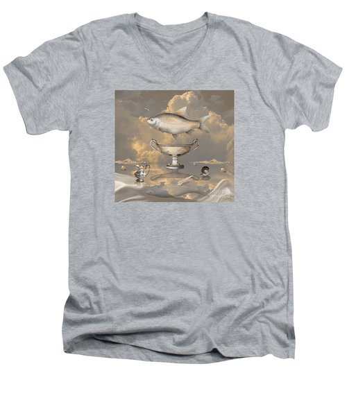 Men's V-Neck T-Shirt featuring the digital art Silver Mood by Alexa Szlavics