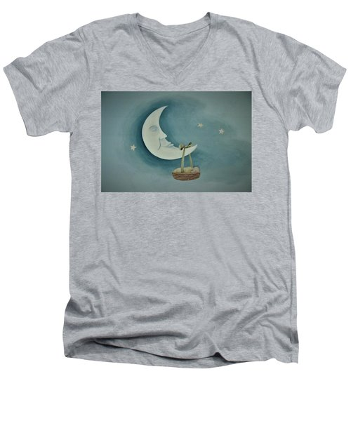 Silver Moon With Picnic Basket Men's V-Neck T-Shirt