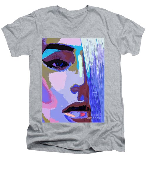 Men's V-Neck T-Shirt featuring the digital art Silver Queen by Rafael Salazar