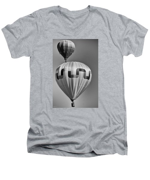Men's V-Neck T-Shirt featuring the photograph Silver Sky Balloons by Kevin Munro