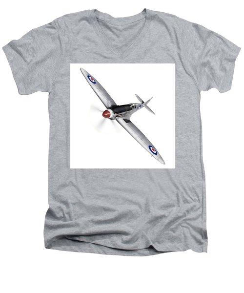 Silver Spitfire Pr Xix Cutout Men's V-Neck T-Shirt