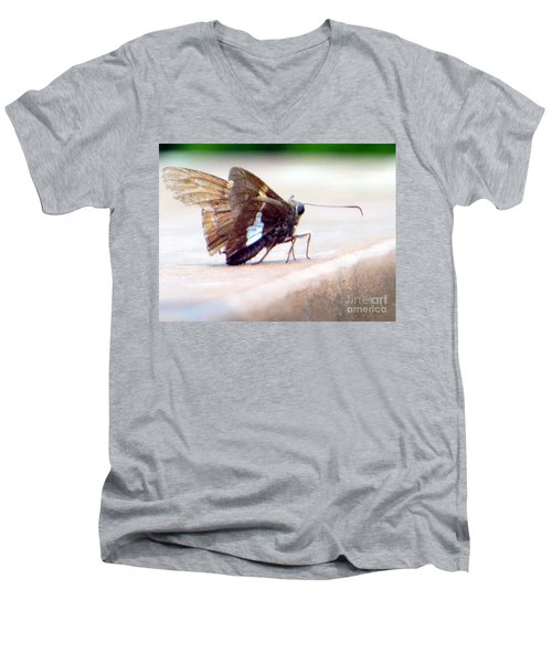 Men's V-Neck T-Shirt featuring the photograph Silver Spotted Skipper Butterfly by Rockin Docks Deluxephotos
