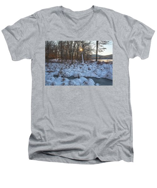 Silvermine Lake Sunburst Men's V-Neck T-Shirt