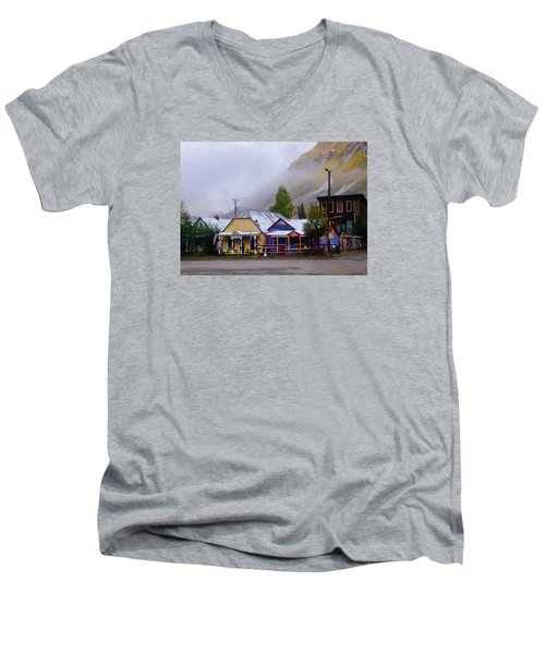 Silverton Back Street Men's V-Neck T-Shirt by Laura Ragland