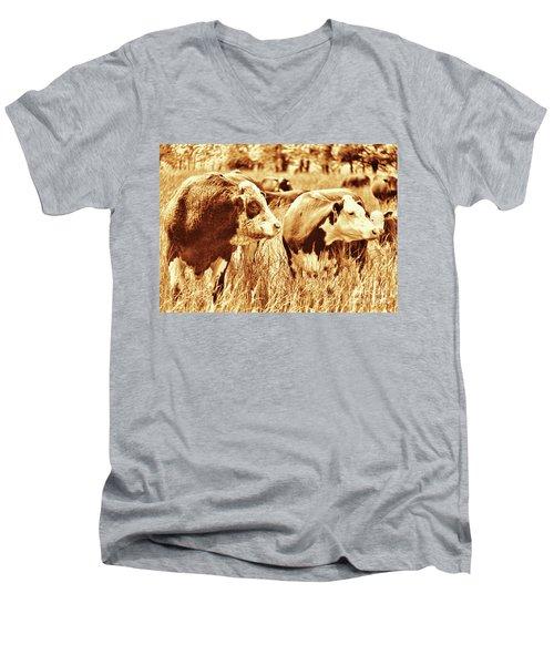 Simmental Bull 3 Men's V-Neck T-Shirt by Larry Campbell