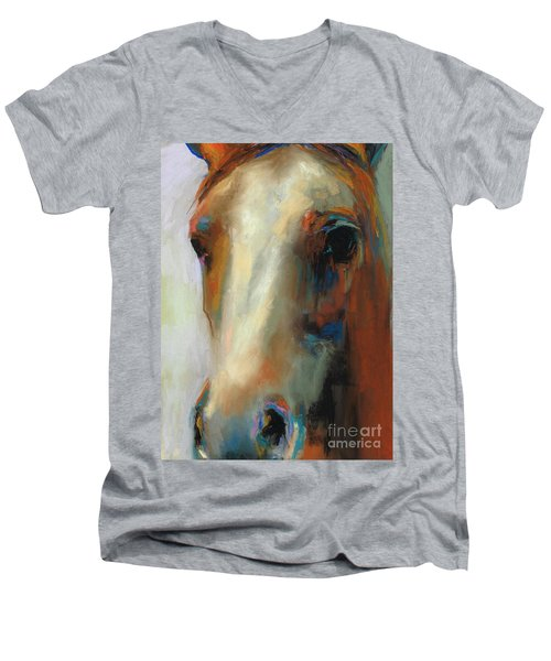 Men's V-Neck T-Shirt featuring the painting Simple Horse by Frances Marino