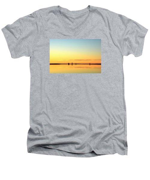 Simple Sunrise Men's V-Neck T-Shirt by Fiskr Larsen