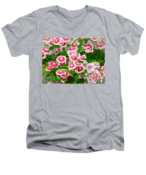 Simply Flowers Men's V-Neck T-Shirt by Rand Herron