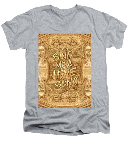 Sing Me A Love Song Opera Garnier Antique Sheet Music Men's V-Neck T-Shirt