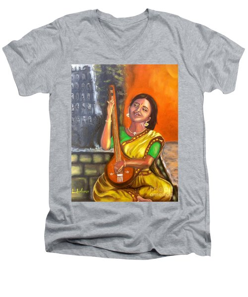 Men's V-Neck T-Shirt featuring the painting Singing @ Sunrise  by Brindha Naveen