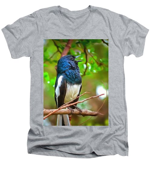 Singing Ceylonese Robin-magpie Men's V-Neck T-Shirt