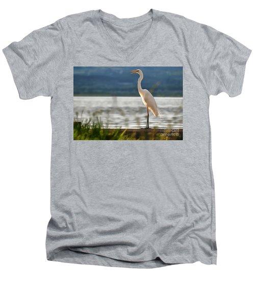 Singing White Egret Men's V-Neck T-Shirt