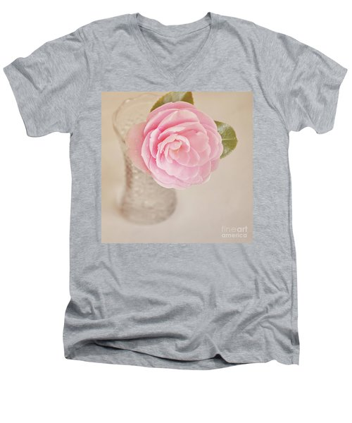 Men's V-Neck T-Shirt featuring the photograph Single Pink Camelia Flower In Clear Vase by Lyn Randle