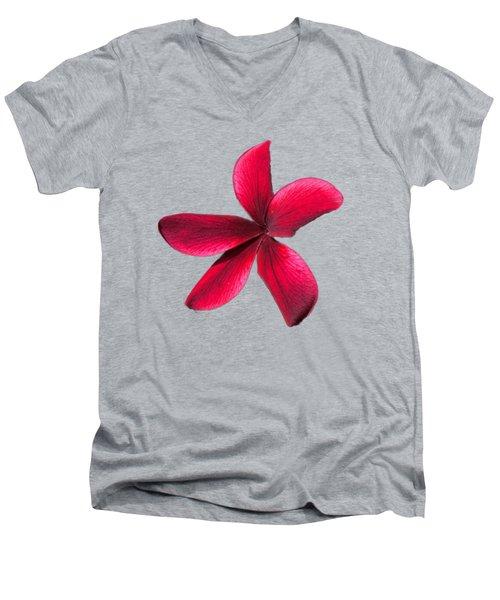 Single Red Plumeria Men's V-Neck T-Shirt