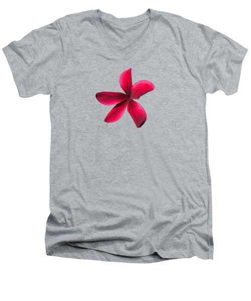 Single Red Plumeria Men's V-Neck T-Shirt