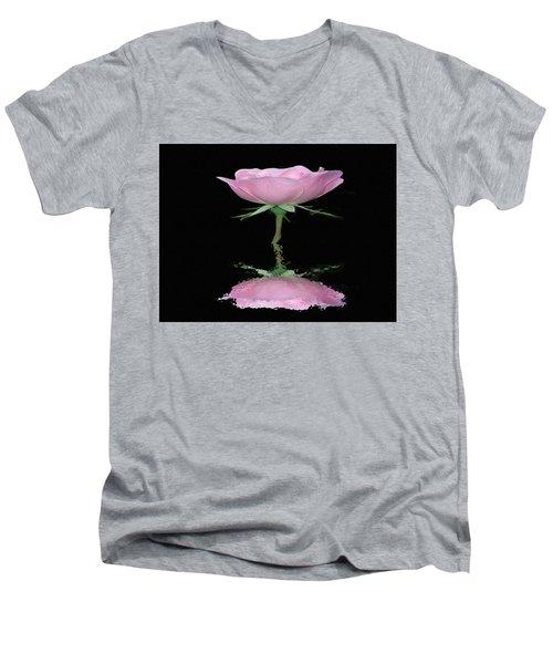Single Reflected Pink Rose Men's V-Neck T-Shirt