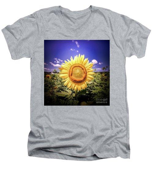 Single Sunflower Men's V-Neck T-Shirt