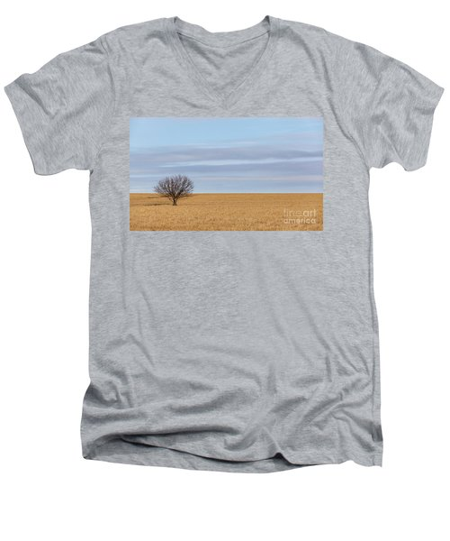 Single Tree In Large Field With Cloudy Skies Men's V-Neck T-Shirt