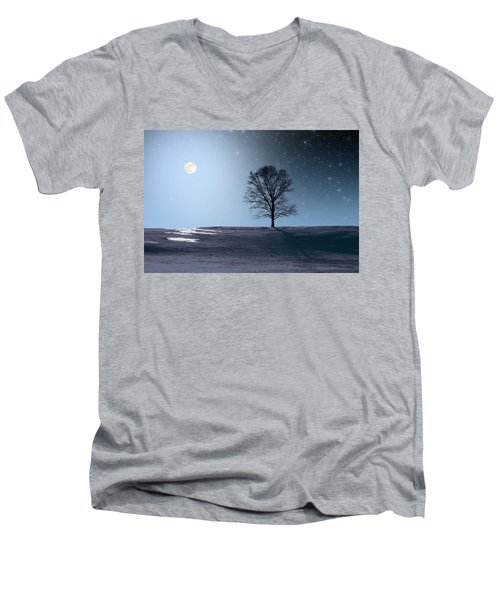 Men's V-Neck T-Shirt featuring the photograph Single Tree In Moonlight by Larry Landolfi