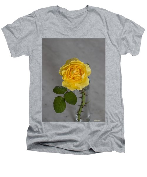 Single Yellow Rose With Thorns Men's V-Neck T-Shirt