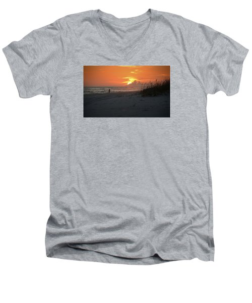 Men's V-Neck T-Shirt featuring the photograph Sinking Into The Horizon by Renee Hardison