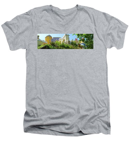 Men's V-Neck T-Shirt featuring the photograph Sintra Castle by Patricia Schaefer