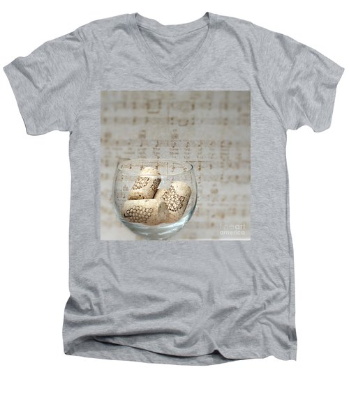 Sipping Wine While Listening To Music Men's V-Neck T-Shirt by Sherry Hallemeier