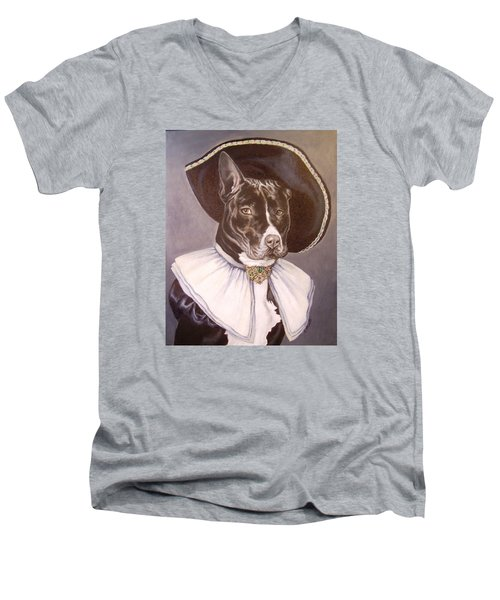 Sir Pibbles Men's V-Neck T-Shirt by Laura Aceto