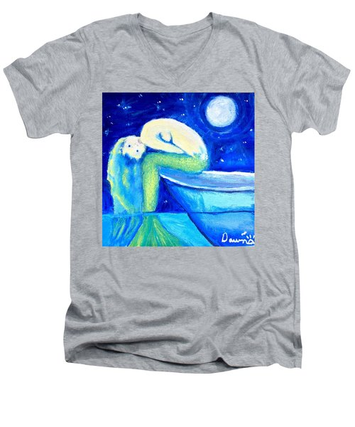 Men's V-Neck T-Shirt featuring the painting Siren Sea by Dawn Harrell