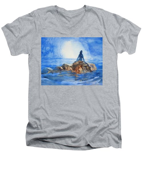 Men's V-Neck T-Shirt featuring the painting Siren Song by Marilyn Jacobson