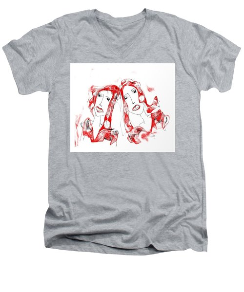 Sisters Men's V-Neck T-Shirt by Sladjana Lazarevic