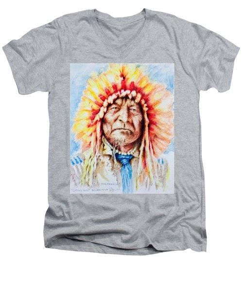 Sitting Bear Men's V-Neck T-Shirt by Victor Minca