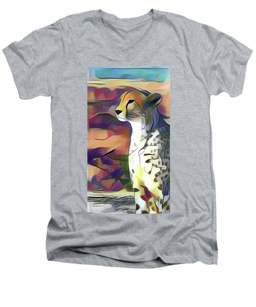 Sitting Cheetah  Men's V-Neck T-Shirt