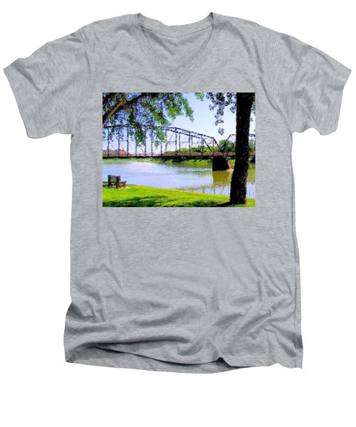 Men's V-Neck T-Shirt featuring the photograph Sitting In Fort Benton by Susan Kinney