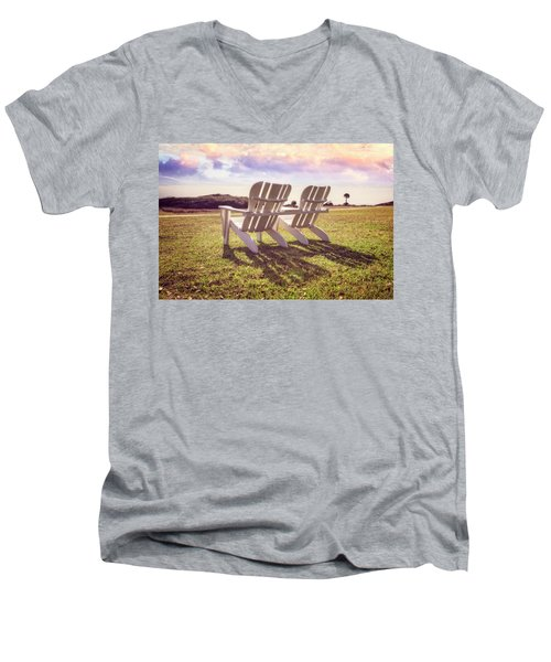 Men's V-Neck T-Shirt featuring the photograph Sitting In The Sun by Debra and Dave Vanderlaan