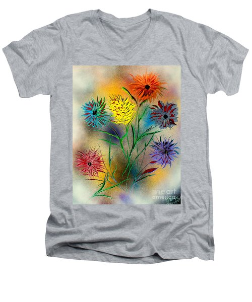 Six Flowers - E Men's V-Neck T-Shirt by Greg Moores