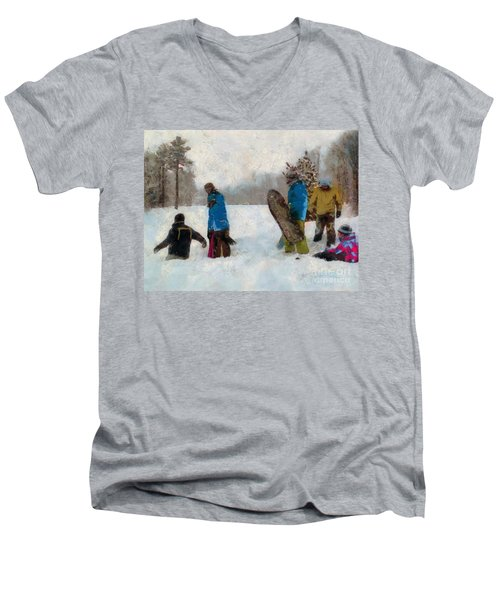 Six Sledders In The Snow Men's V-Neck T-Shirt