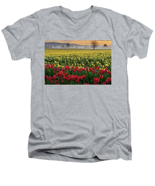 Men's V-Neck T-Shirt featuring the photograph Skagit Valley Misty Morning by Dan Mihai