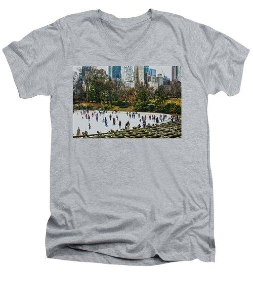 Skating At Central Park Men's V-Neck T-Shirt by Sandy Moulder