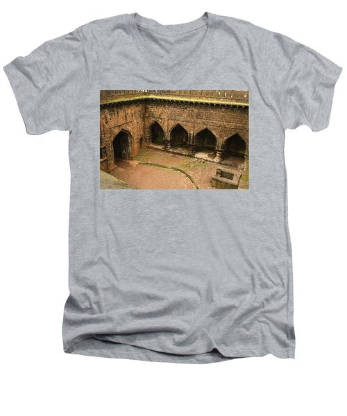 Skc 3278 The Ancient Courtyard Men's V-Neck T-Shirt by Sunil Kapadia