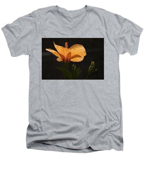 Skc 9937 The Grace Of Hibiscus Men's V-Neck T-Shirt by Sunil Kapadia