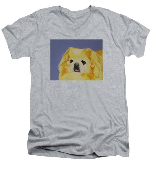 Skeeter The Peke Men's V-Neck T-Shirt by Hilda and Jose Garrancho