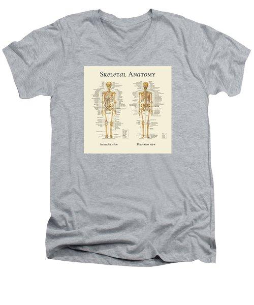 Men's V-Neck T-Shirt featuring the digital art Skeletal Anatomy by Gina Dsgn