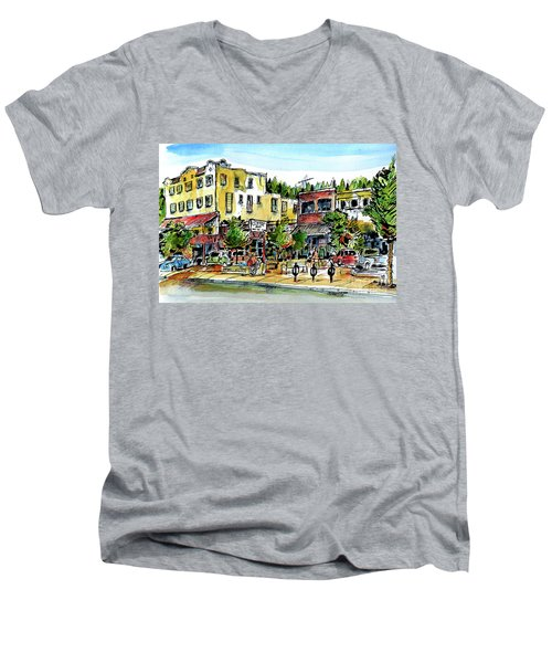 Sketch Crawl In Truckee Men's V-Neck T-Shirt by Terry Banderas